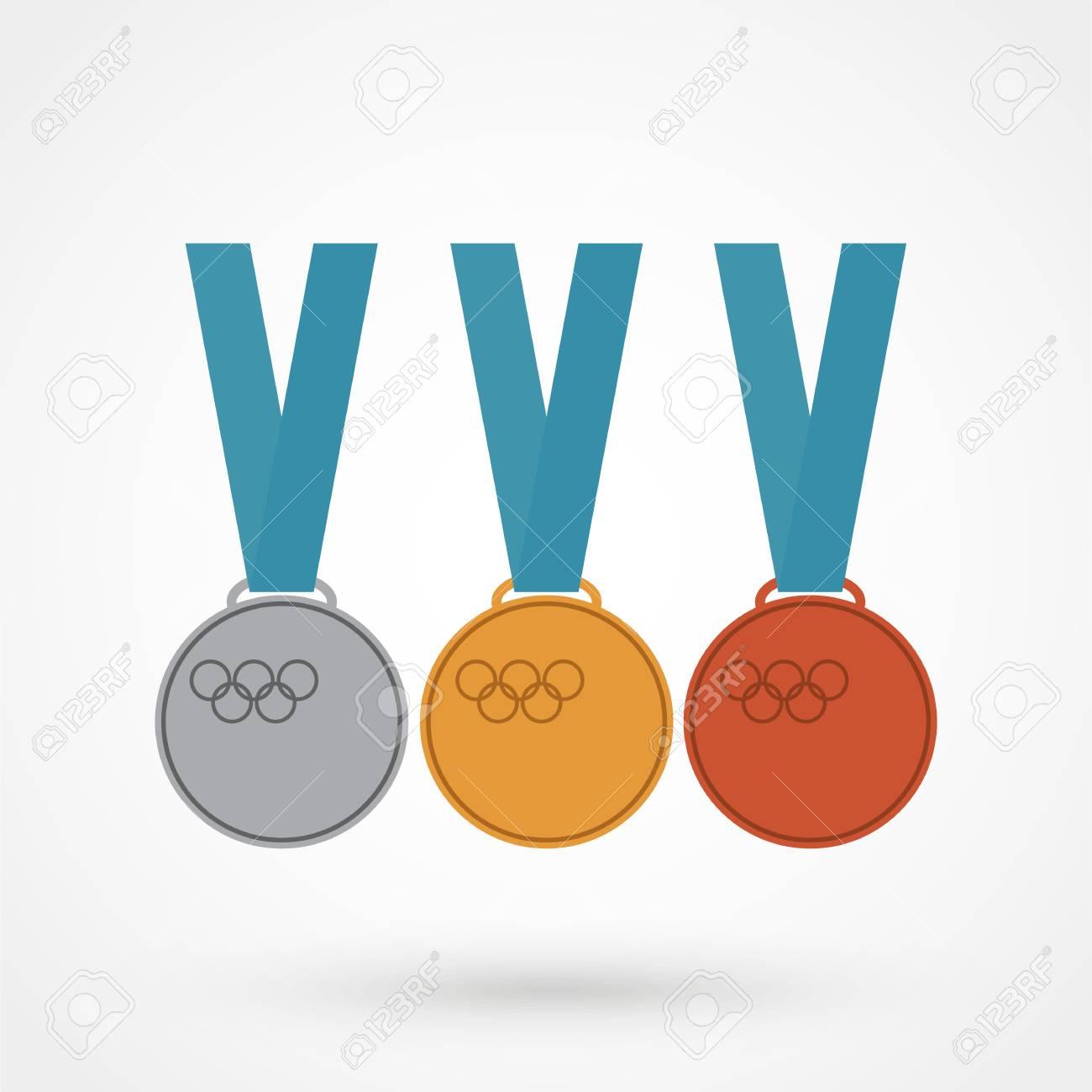 1位 2位 3位の賞 金メダル 銀メダル 銅メダル のイラスト素材 ベクタ Image