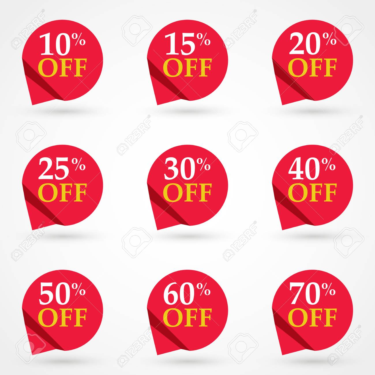 sale tags set vector badges template 10 off 15 20 25