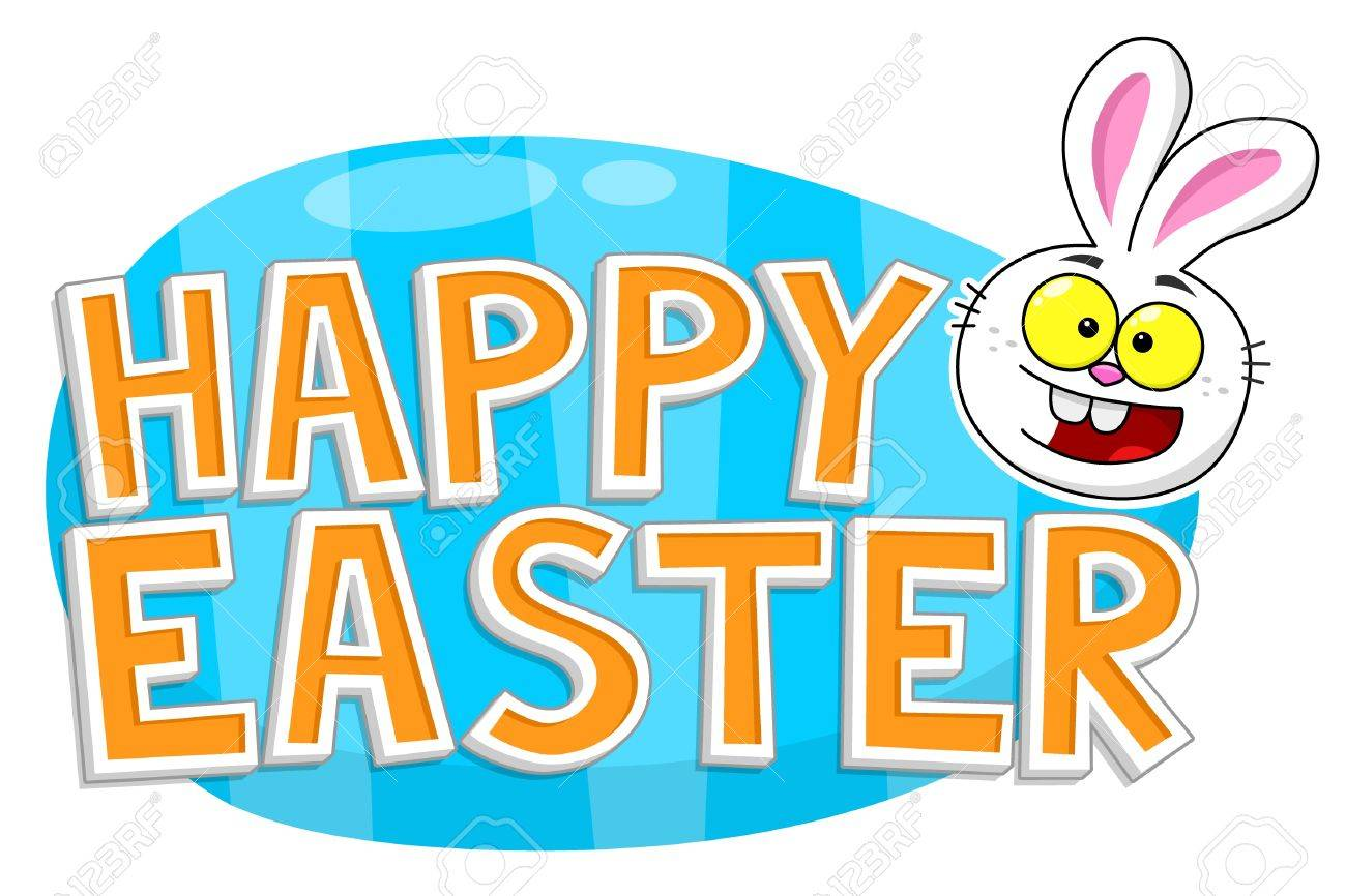 happy easter text with easter bunny head in front of easter egg