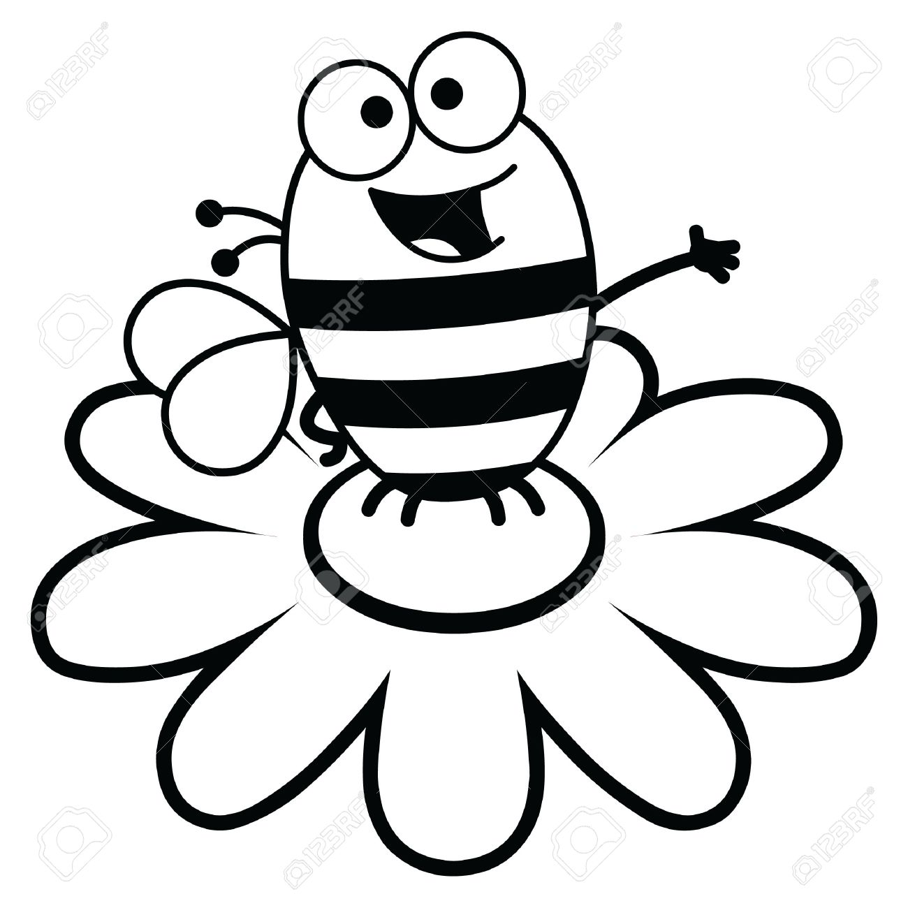 Black And White Cartoon Illustration Of A Bee Atop A Large Flower