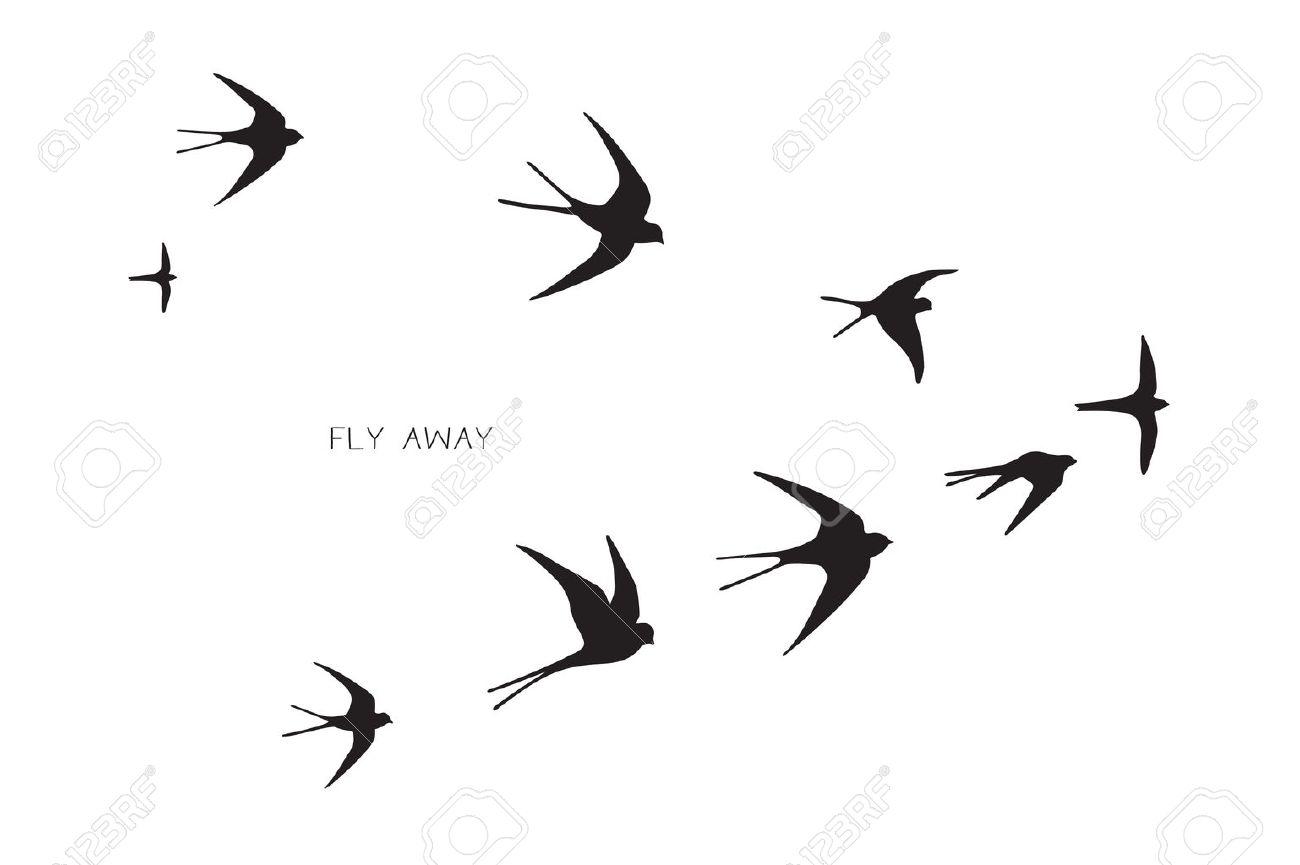 flock of birds silhouette swallow vector illustration royalty free rh 123rf com tree bird silhouette vector cute bird silhouette vector