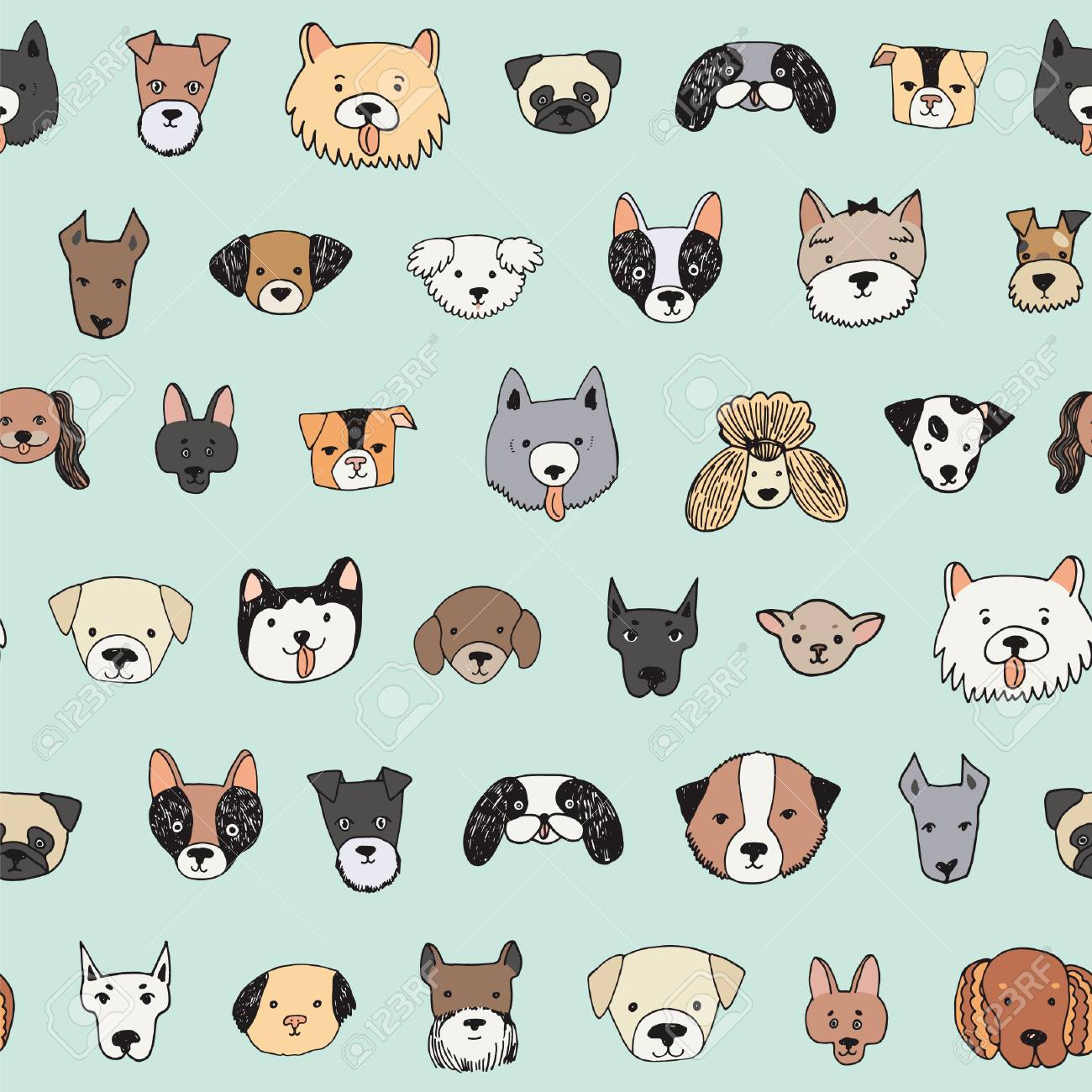 Dog Face Cartoon Vector Seamless Pattern Royalty Free Cliparts Vectors And Stock Illustration Image 93960762