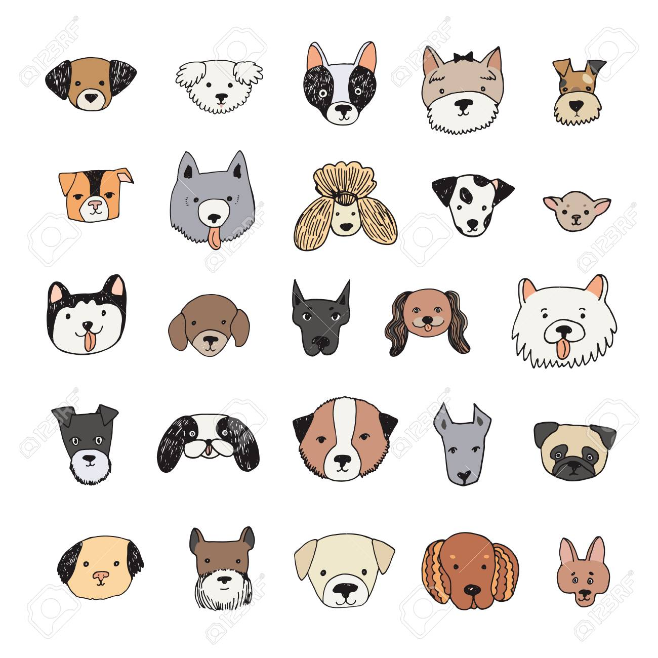 Dog Face Cartoon Vector Illustrations Set Royalty Free Cliparts Vectors And Stock Illustration Image 93960767