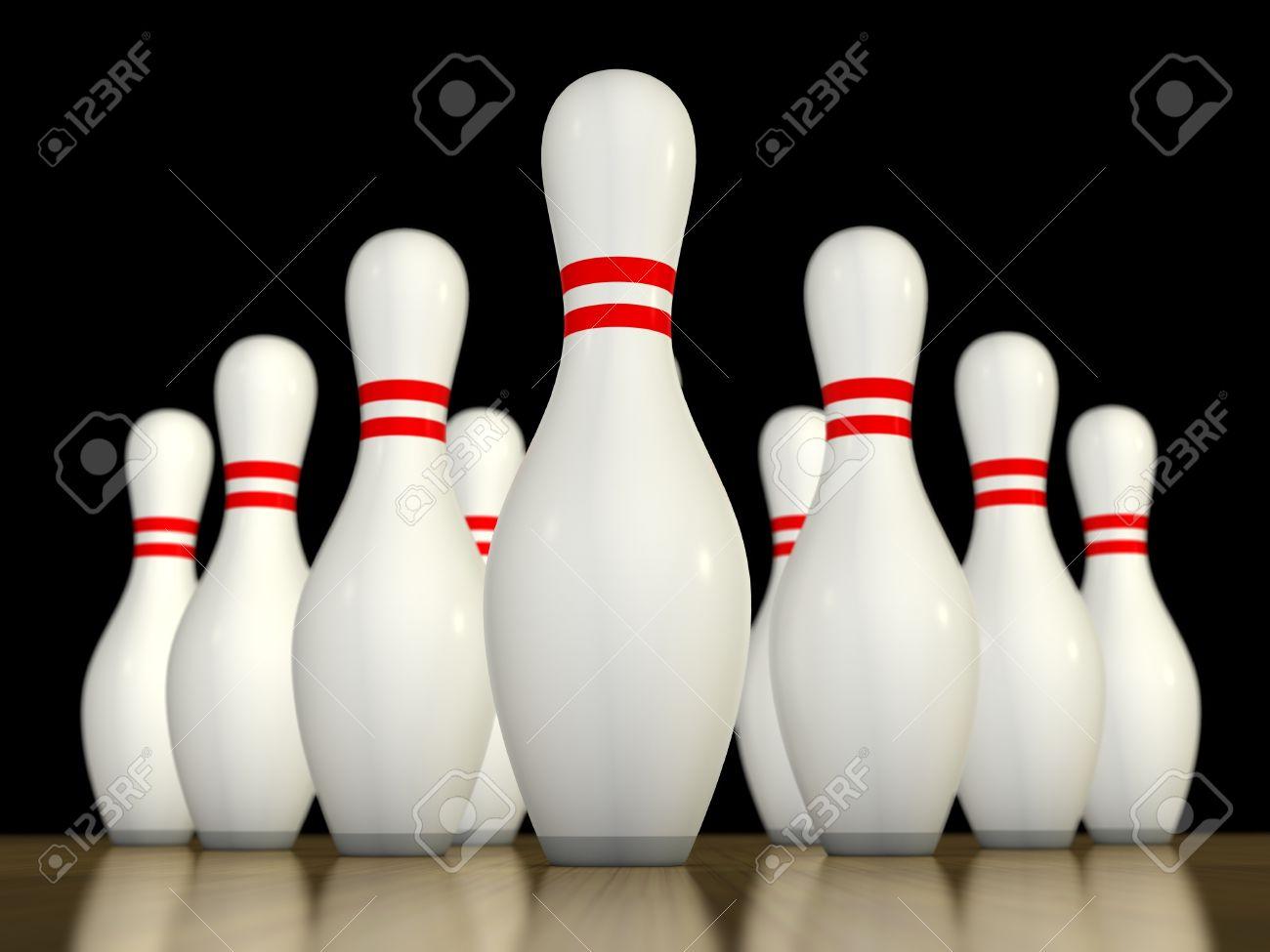 Ten Pin Bowling Pins Bereit, Rollte über Lizenzfreie Fotos, Bilder ...