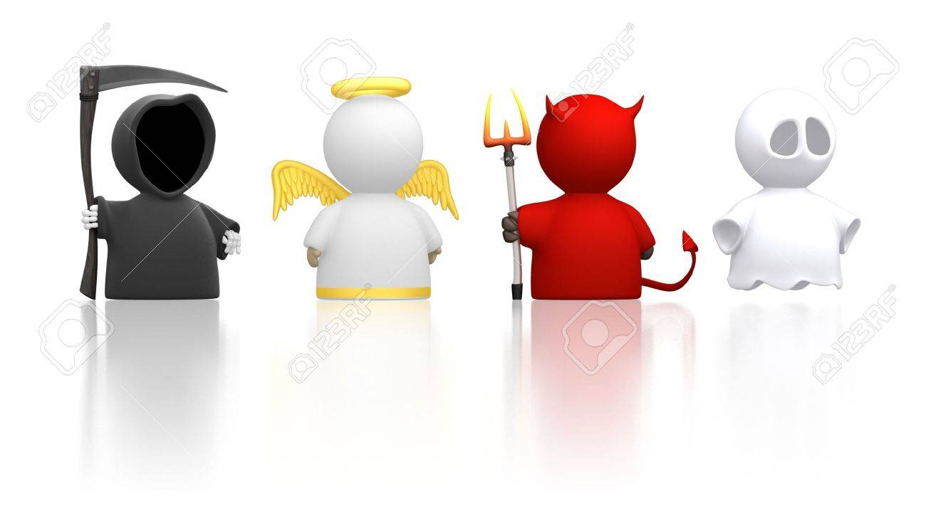Death, an Angel, the Devil and a Ghost as icon characters. Could be used for religious concepts, halloween, humour, costume party. Use together or cut apart. Stock Photo - 7376053