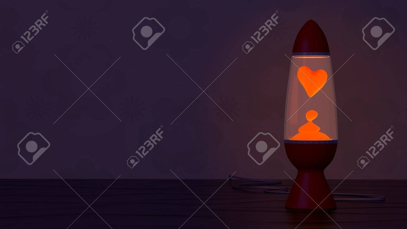 Lava Lamp With Heart Shaped Blob Groovy Retro Wallpaper Backdrop
