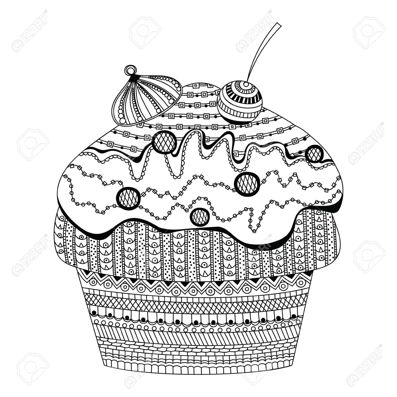 - Doodle Vector Of Dessert Cupcake Coloring Book For Adults Vector