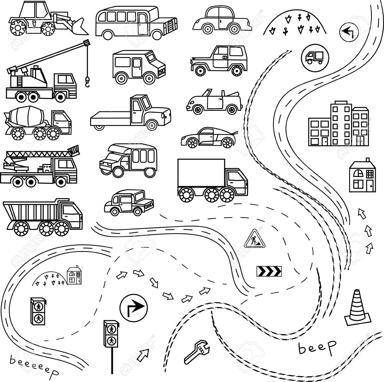 Set Of Car Black And White Cartoon Background Coloring Book Royalty Free Cliparts Vectors And Stock Illustration Image 141351560