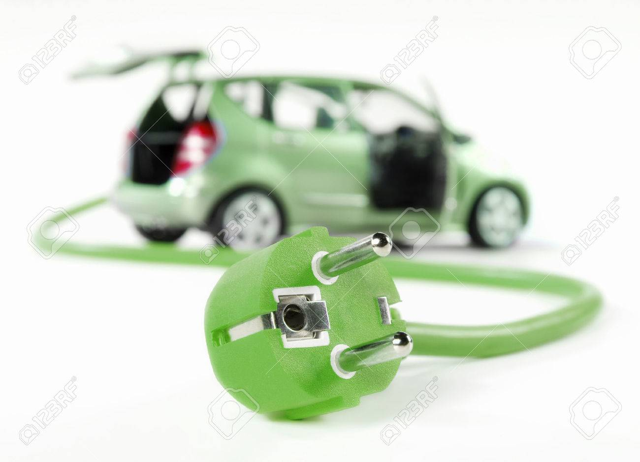 Electric car with cable and plug, all in green color and isolated on white - 28119312