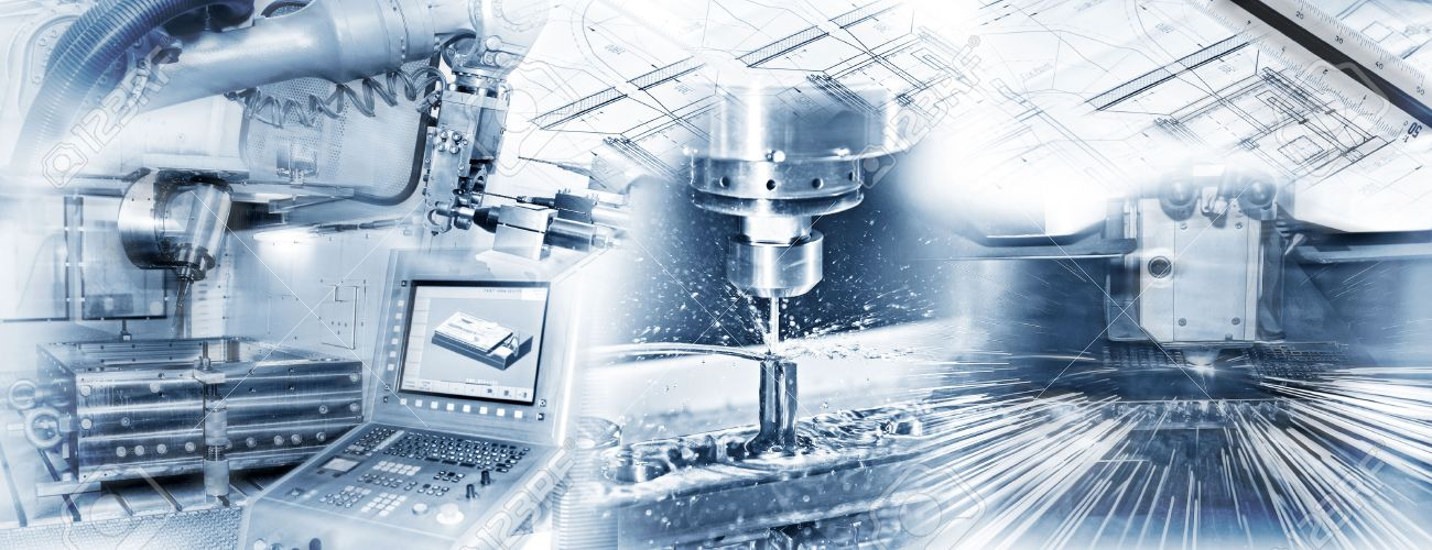 Production with CNC machine, drilling and welding and construction drawing in industrial operation. - 43692144