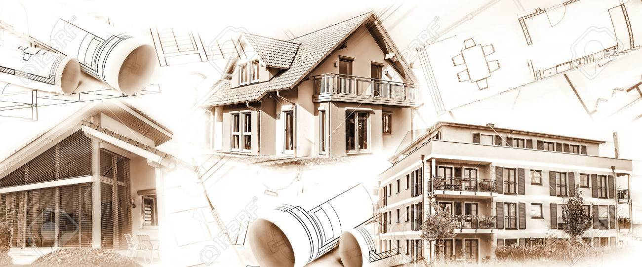 New buildings and blueprints as a symbol for the construction or real estate industry. - 51168733