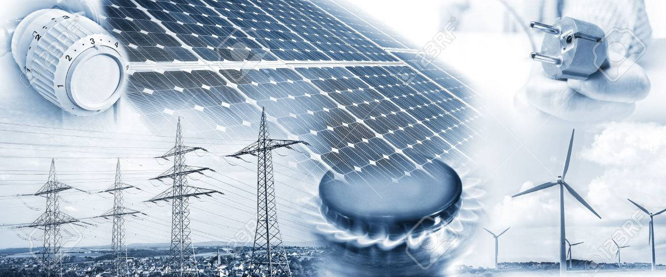 Electricity pylons, wind turbines and solar panel with plug, gas flame and heating thermostat - 54719266