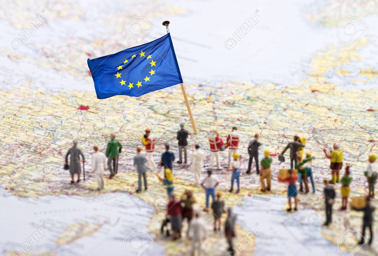 Europe map with European flag and a large group of figures. - 59132076