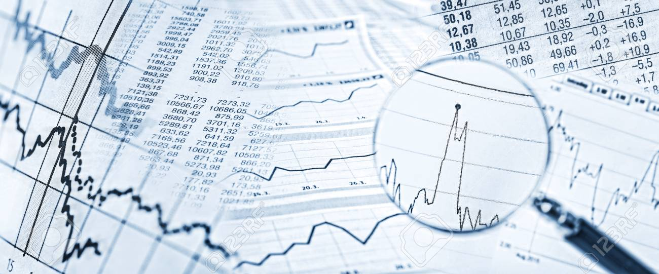 Stock quotes, price charts and a magnifying glass with stock price in detail. - 64883775