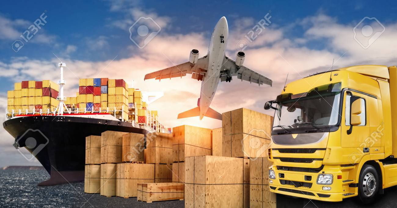 Truck, airplane and ship with carrier boxes as a symbol for international trade - 88576710