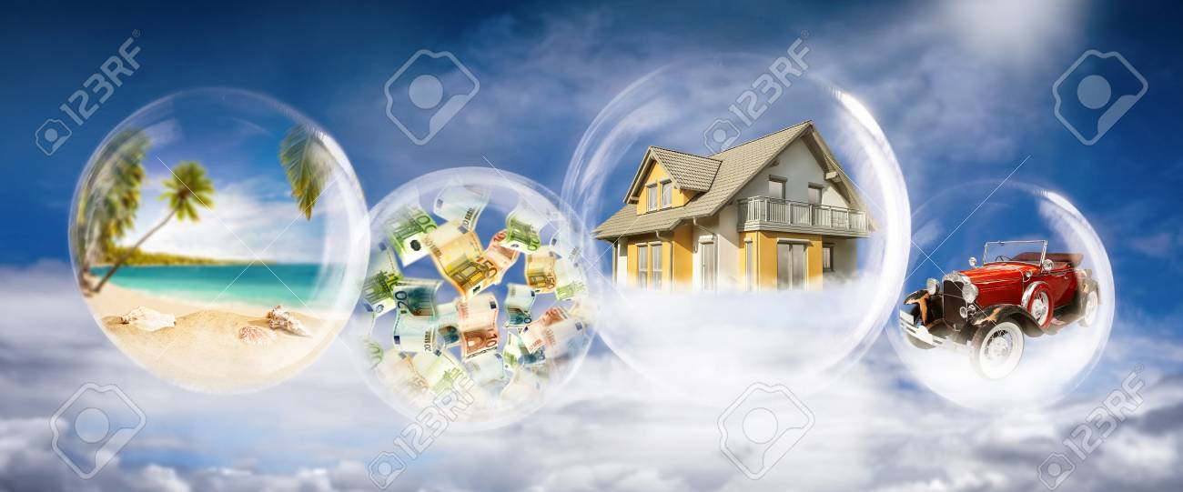 Soap bubbles with beach scene, banknotes, house and car - 94388193