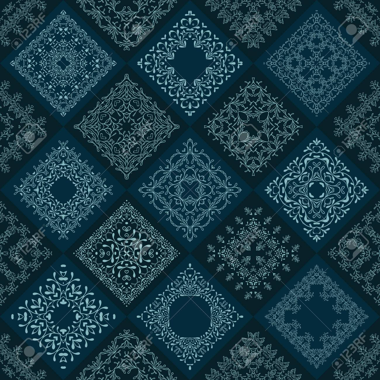 Abstract Patchwork Tiles Seamless Background. Floral Pattern ...