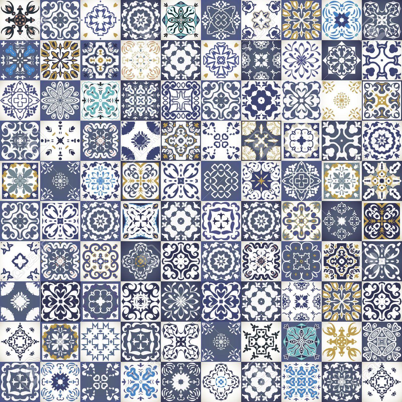 El Diseño De Mosaico Floral Magnífica. Coloridos Azulejos Cuadrados ...