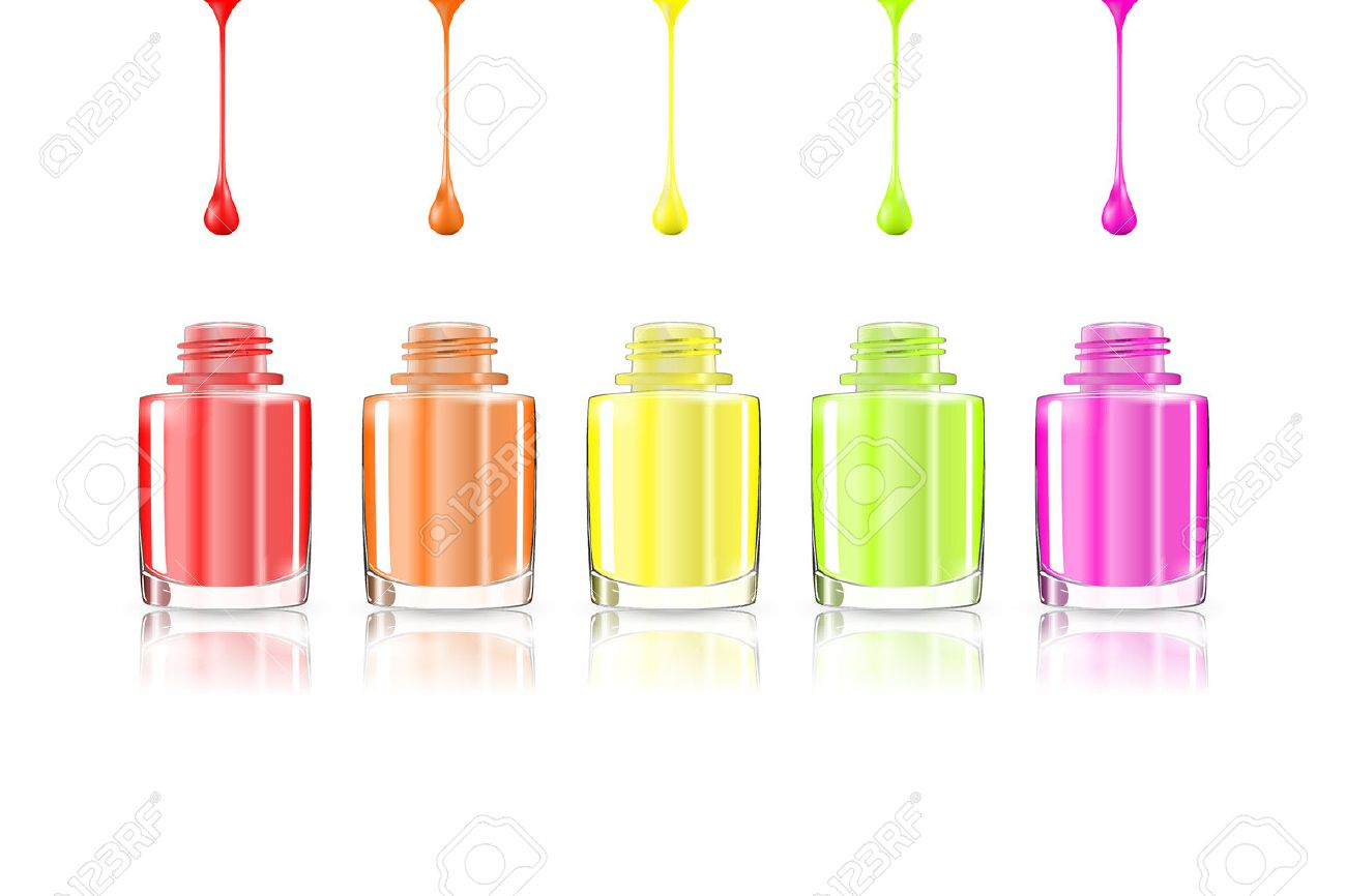 Vivid Rainbow Nail Polish Bottles Multicolored Drips Isolated
