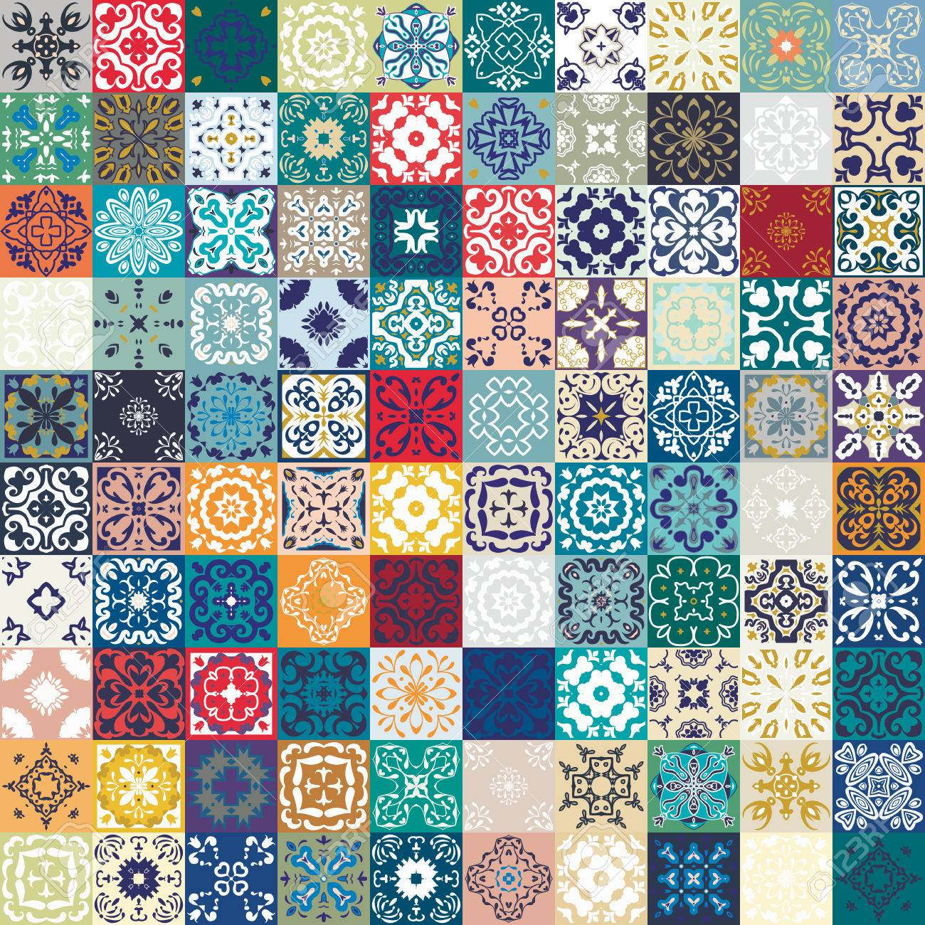 Mega Gorgeous seamless patchwork pattern from colorful Moroccan tiles, ornaments. - 55091961