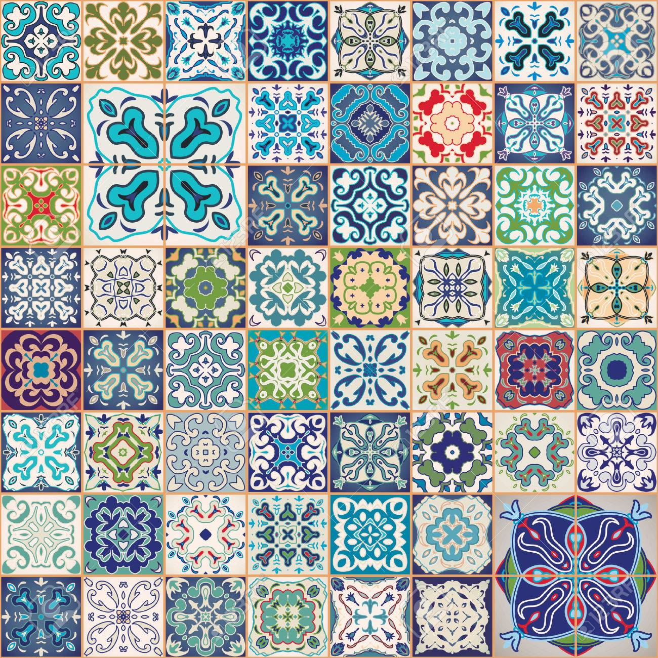Gorgeous floral patchwork design. Colorful Moroccan or Mediterranean square tiles, tribal ornaments. For wallpaper print, pattern fills, web background, surface textures. Indigo blue white teal aqua. - 55091962