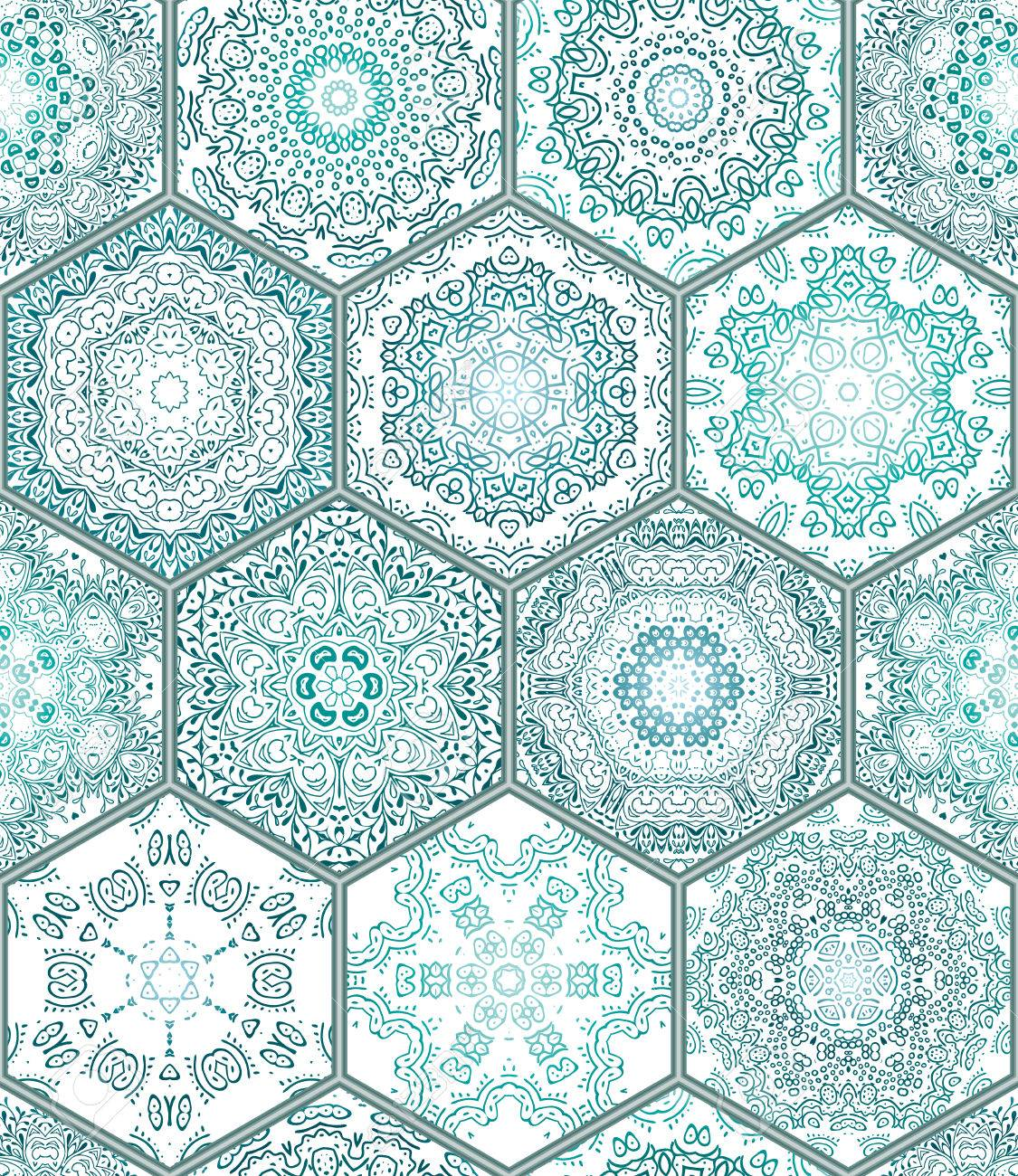 Blue Green Tiles Floor Ornament Collection Gorgeous Seamless ...