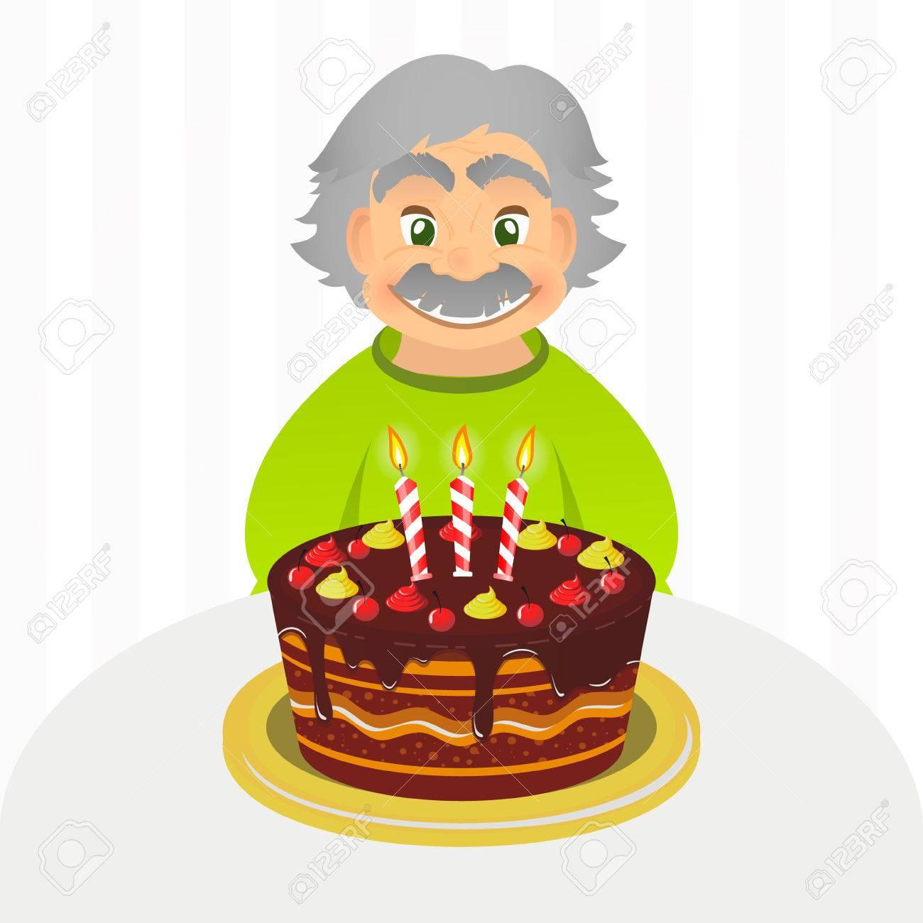 Old Man Celebrating Birthday Senior Man With Chocolate Cake