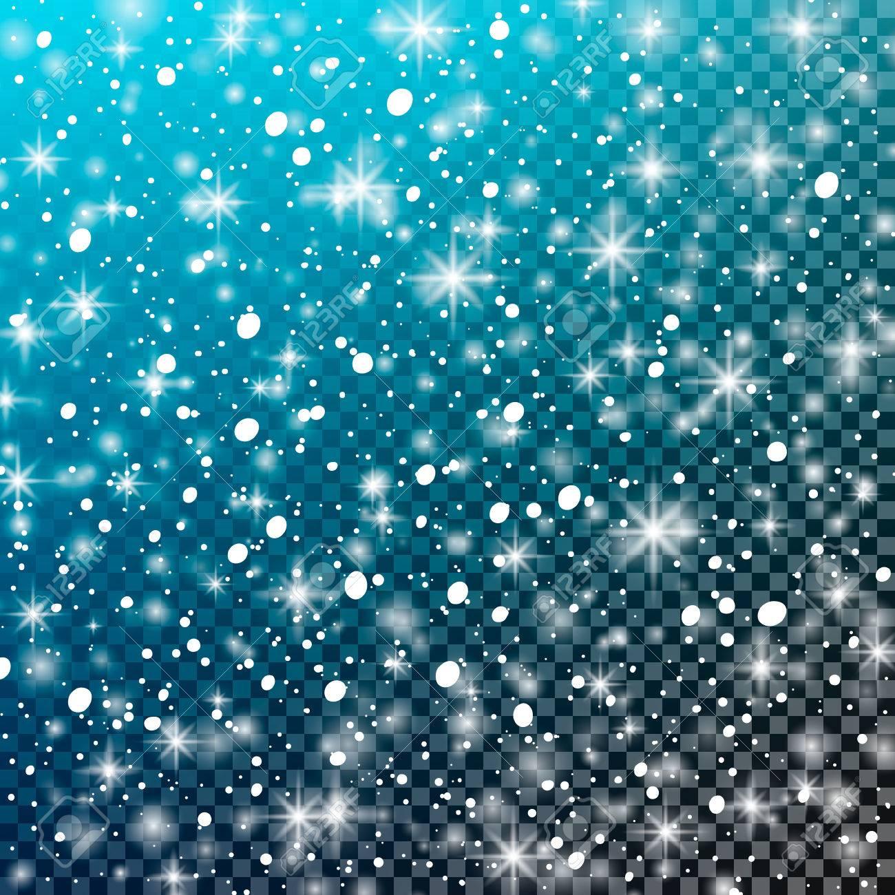 Vettoriale Neve Che Cade Su Uno Sfondo Blu Trasparente