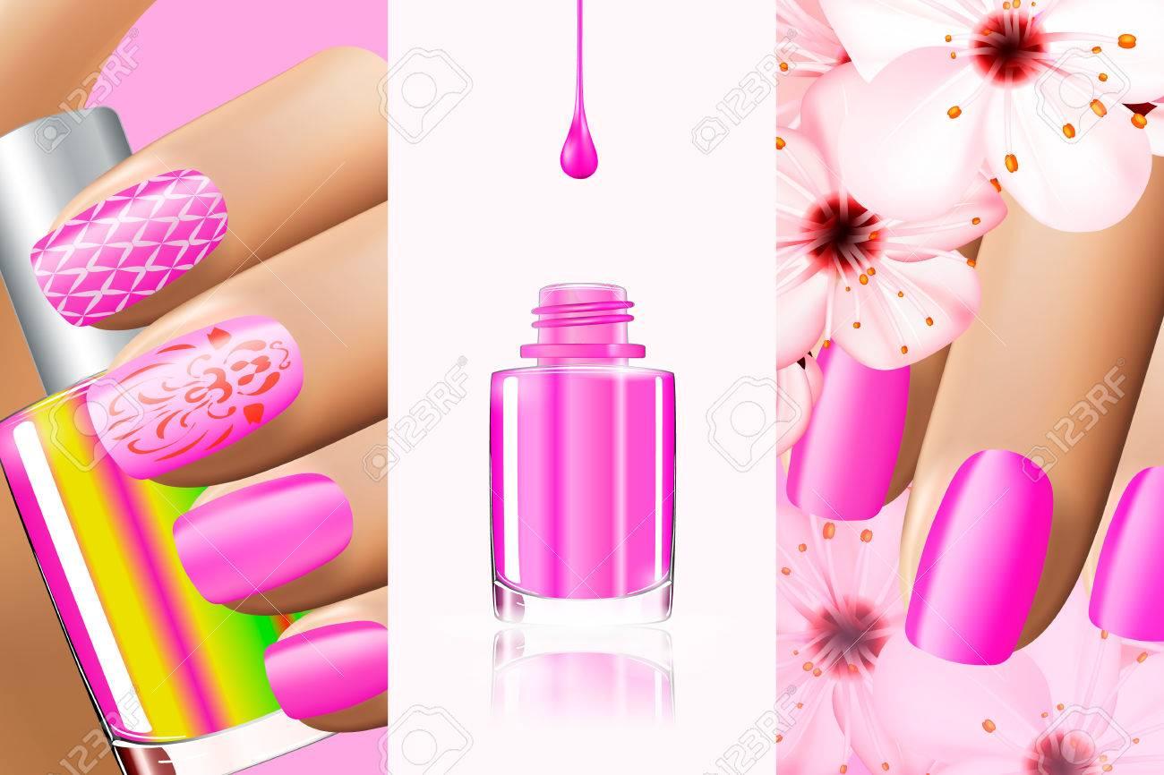 夏、春ネイル デザインのカラフルなピンクのコレクションです。ベクトル 3 d イラスト。Nailpolish ラッカー広告ネイルポリッシュ ホワイト  バック グラウンドでスプラッタします。マニキュア ヴォーグ広告デザイン