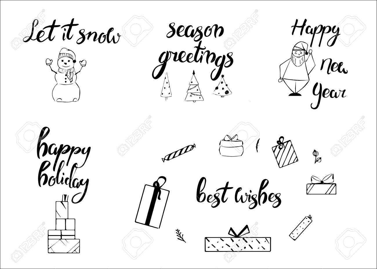 Merry christmas happy new year 2018 greeting card typography happy new year 2018 greeting card typography xmas set with hand m4hsunfo