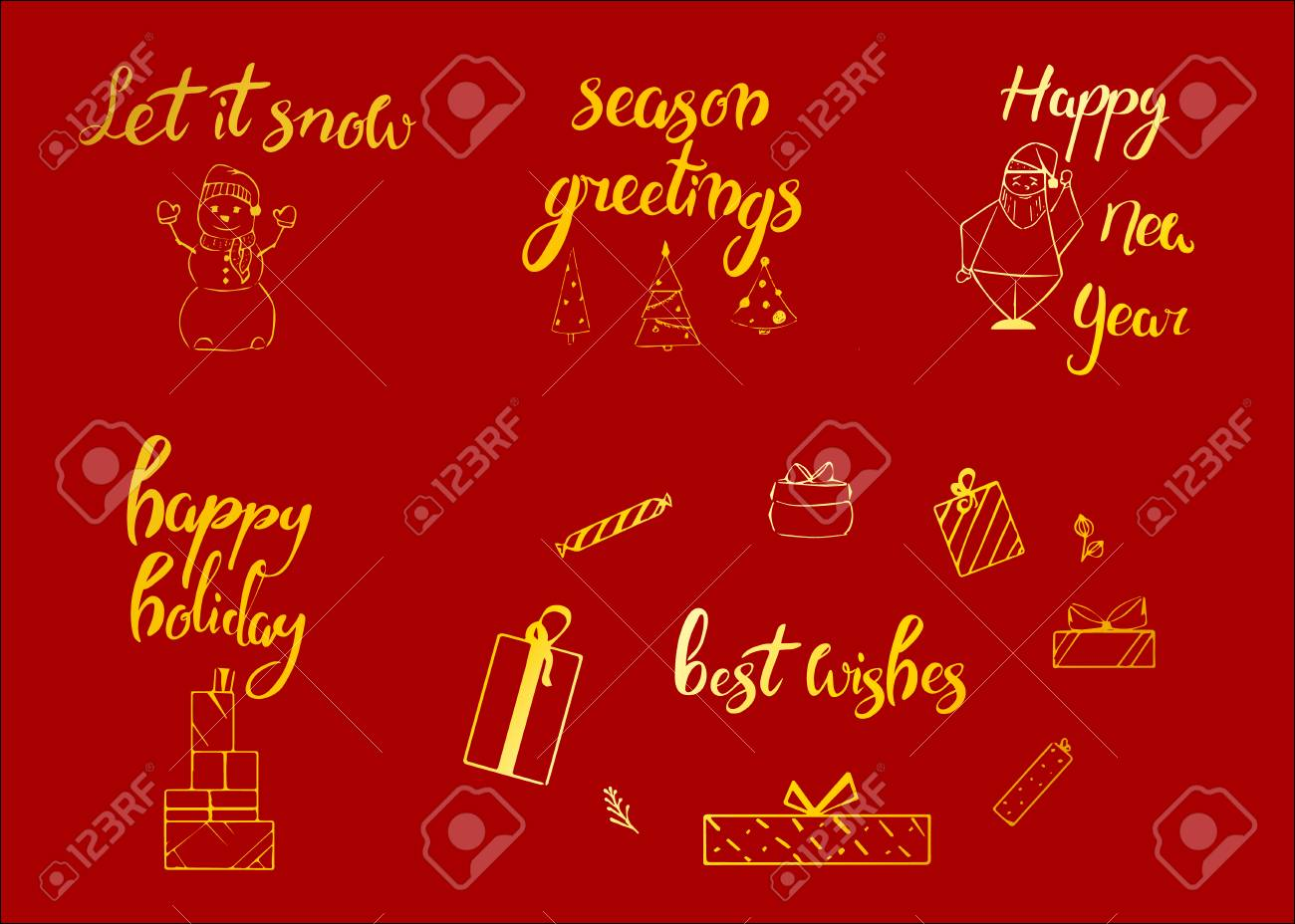 Merry Christmas Happy New Year 2018 Greeting Card Typography