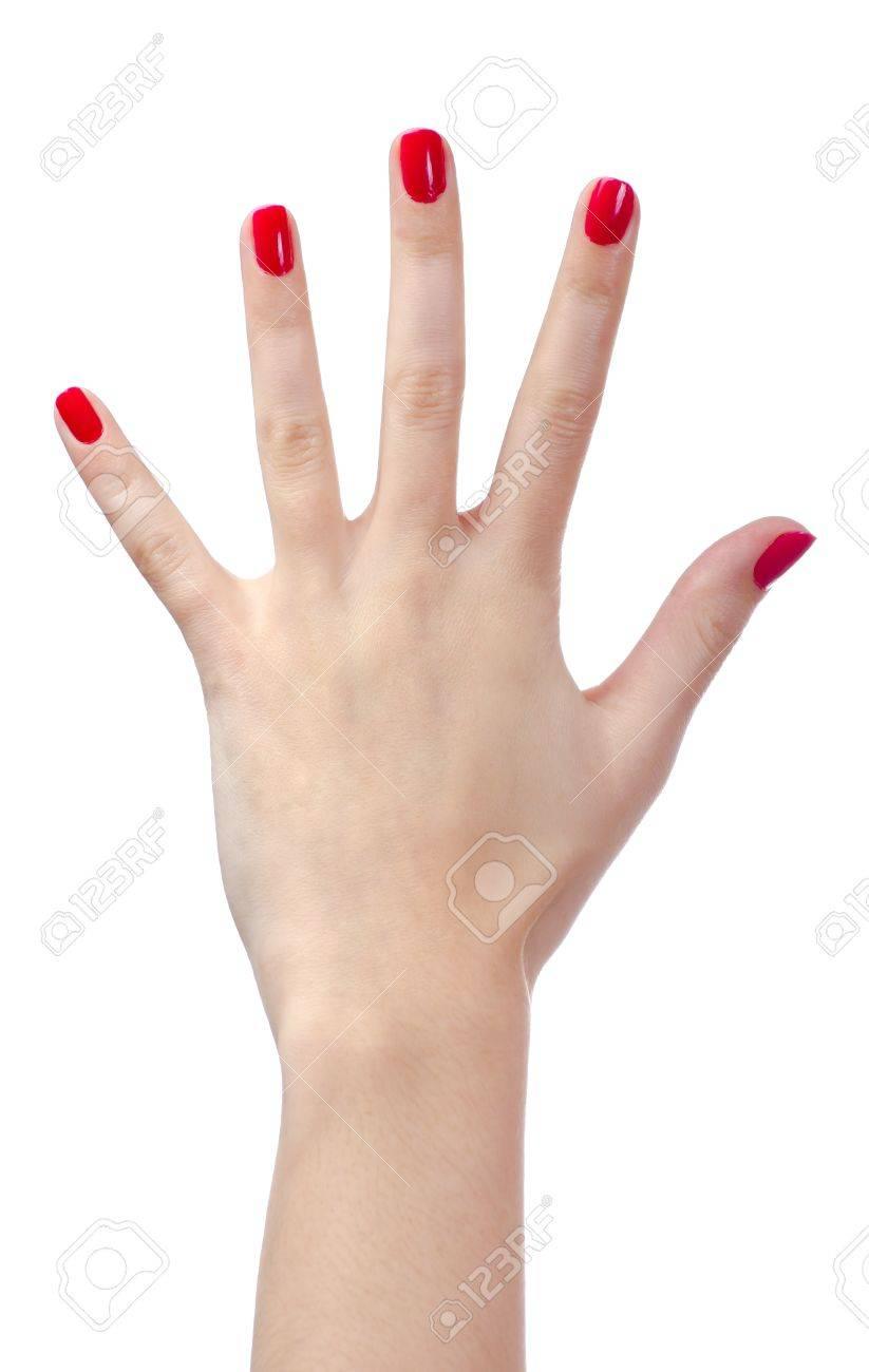 Banque dimages , La main de lhomme avec ongles rouges
