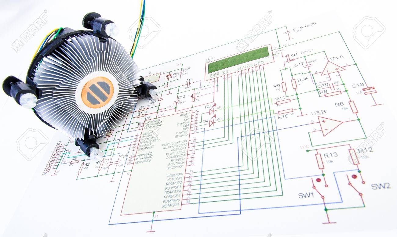 Cpu Cooler With Electronic Diagram Isolated Stock Photo Picture And Circuit Of A 18076354