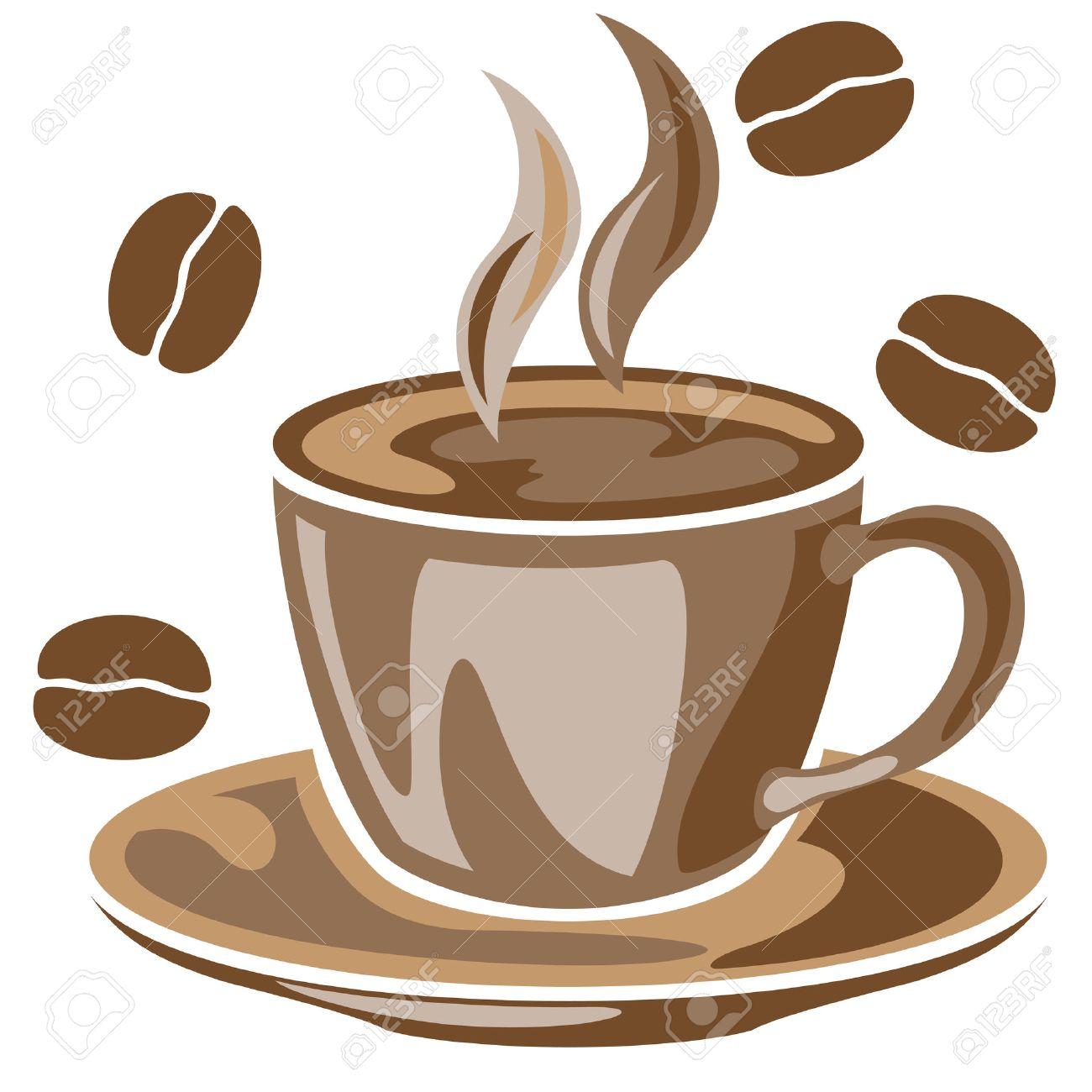 23764262-Une-tasse-de-caf-fumant-et-des-grains-de-caf-dessin-Banque-d'images