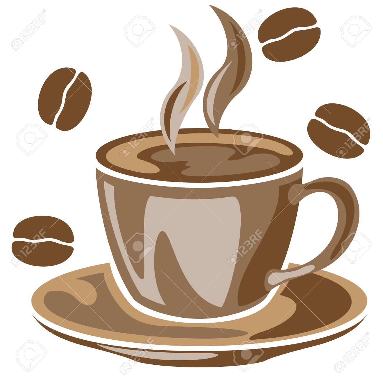 A steaming cup of coffee and coffee beans drawing Stock Vector - 23764262
