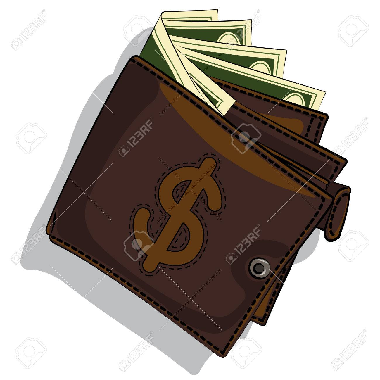 leather wallet with bills over white background. vector Stock Vector - 23764264