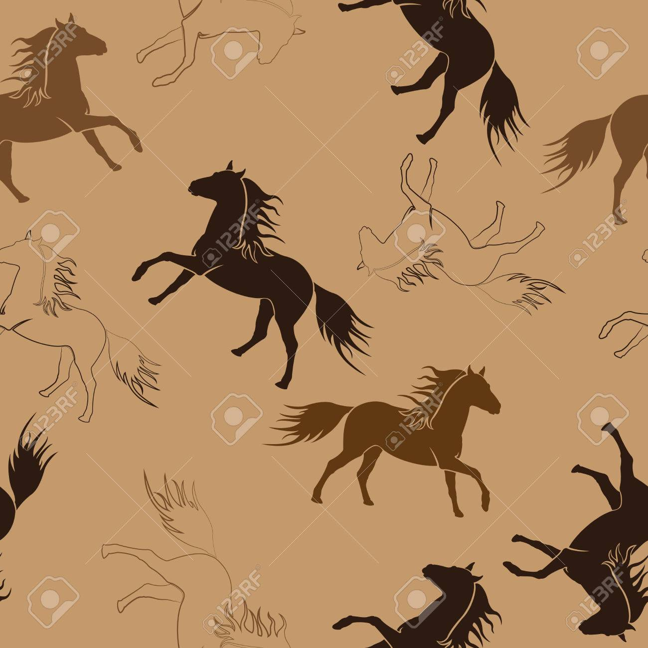 Seamless repeating pattern of running horses. Illustration. Stock Vector - 24233112