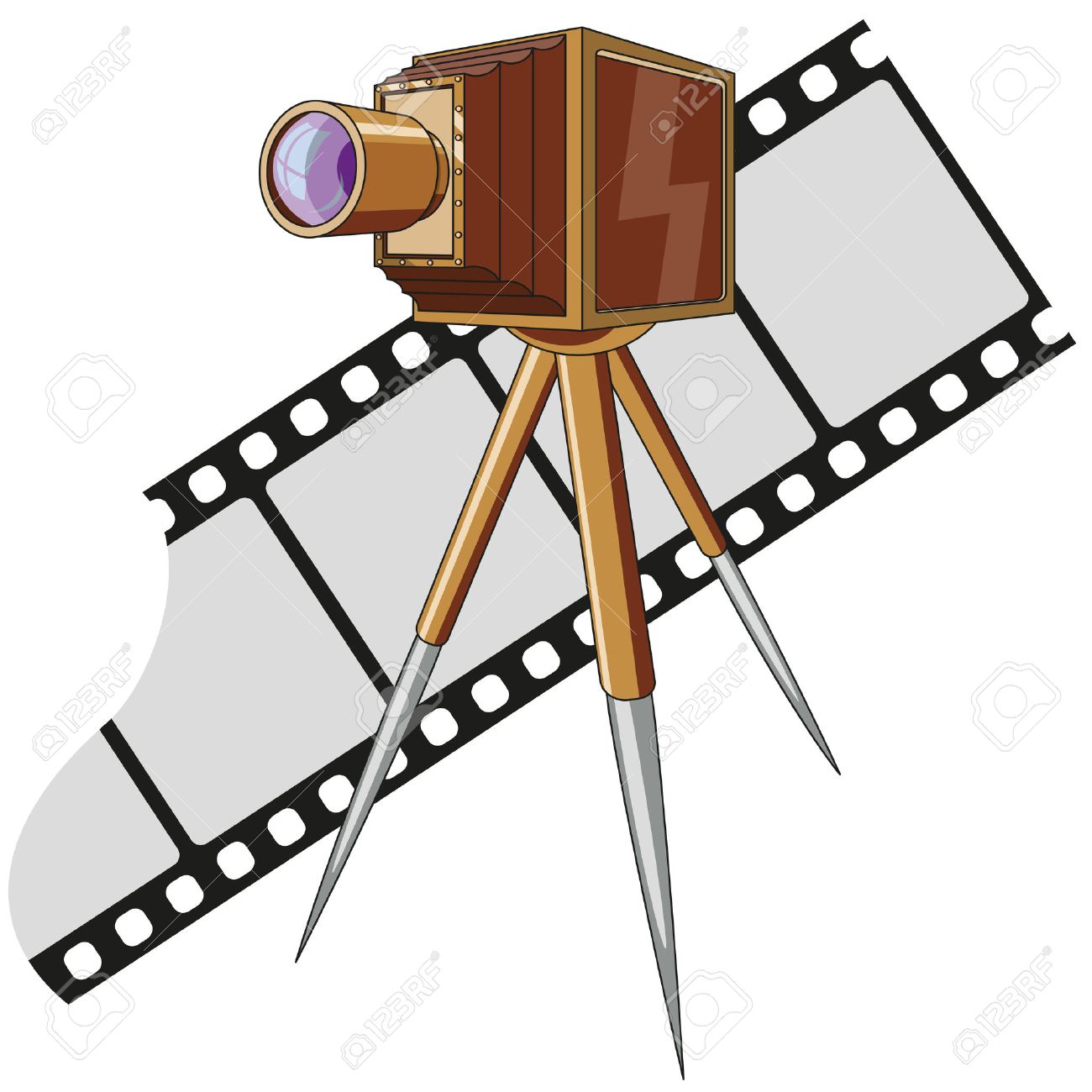 Old photo camera with tripod Stock Vector - 24504167