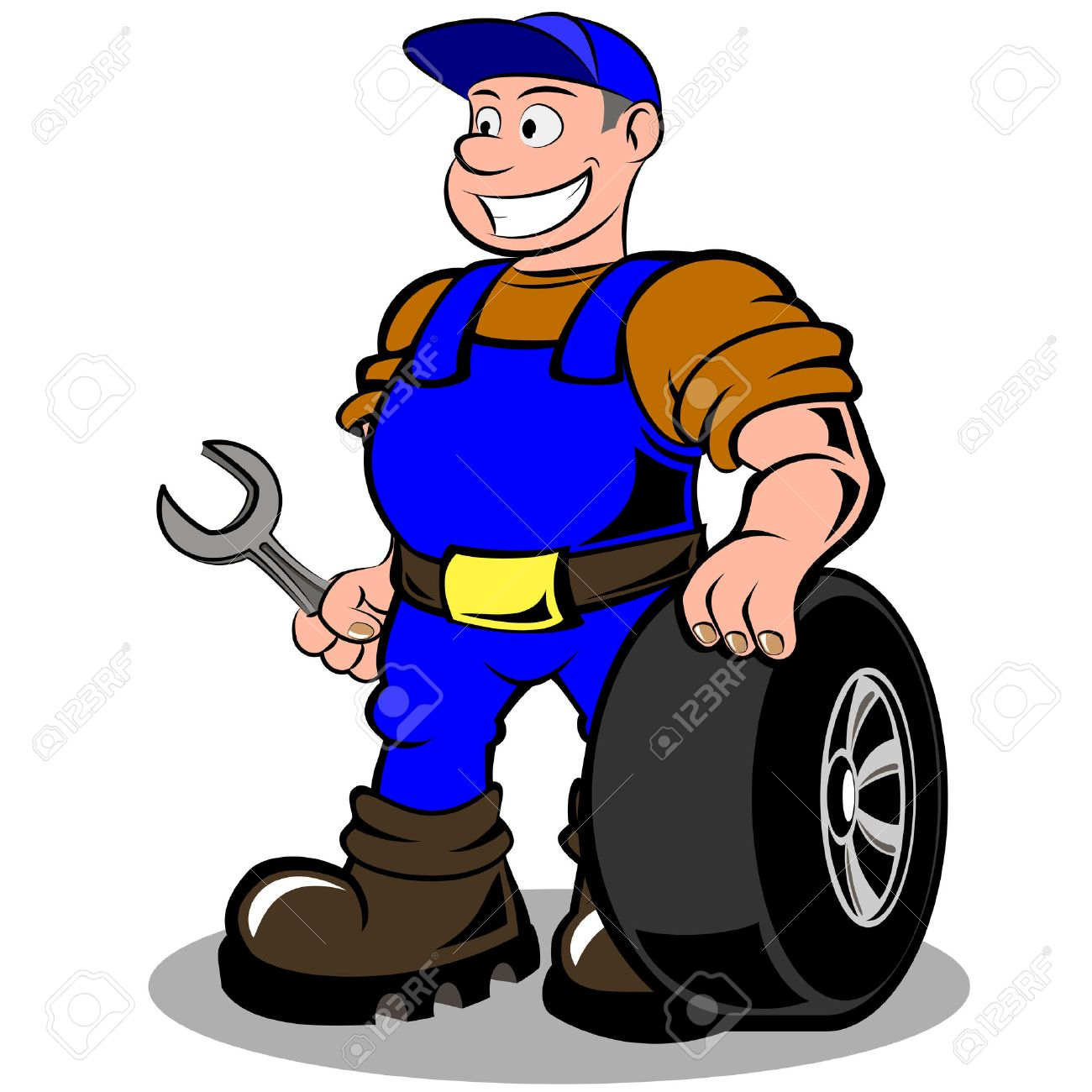 auto mechanic with wheel vector illustration isolated on white background Stock Vector - 24934477
