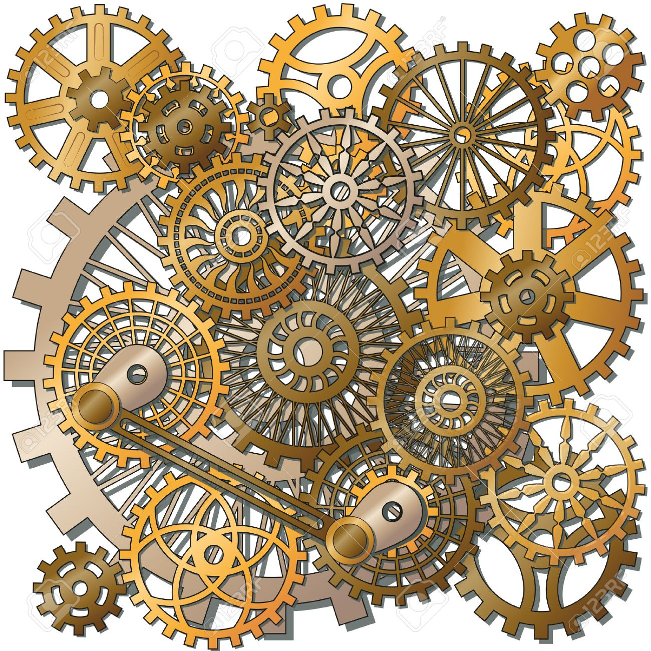 the gears in the style of steampunk. Gradient mash - 25319137
