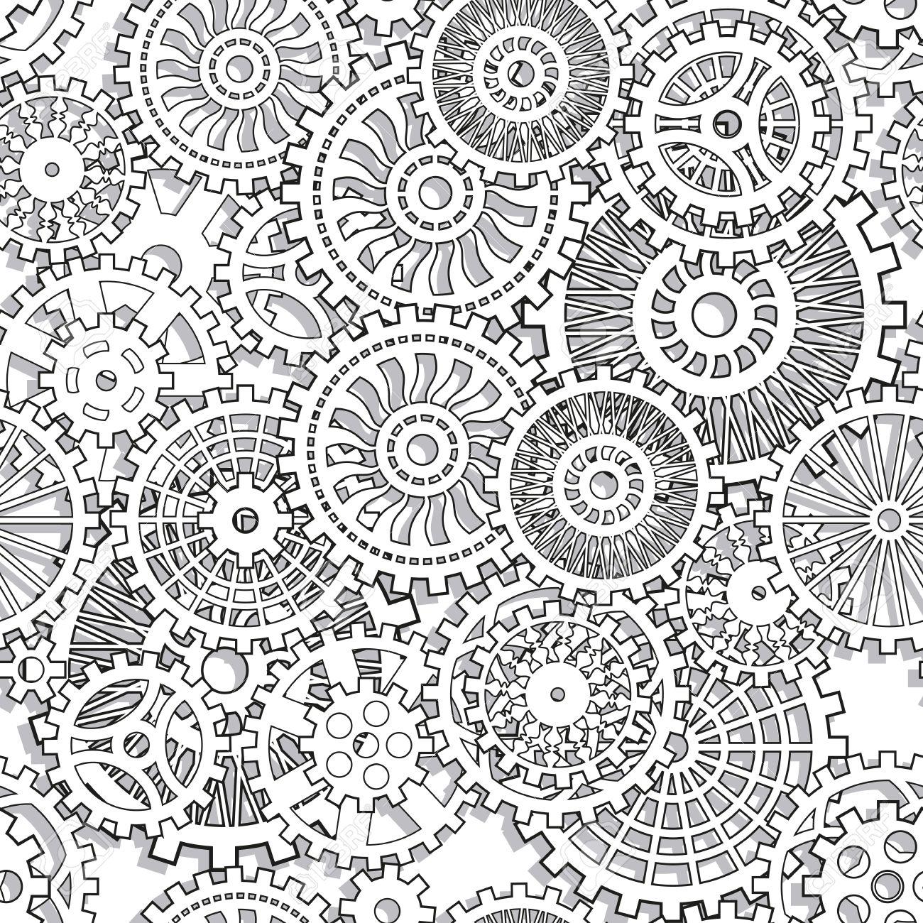 Seamless texture gear wheels Illuctration clip art Stock Vector - 25998955
