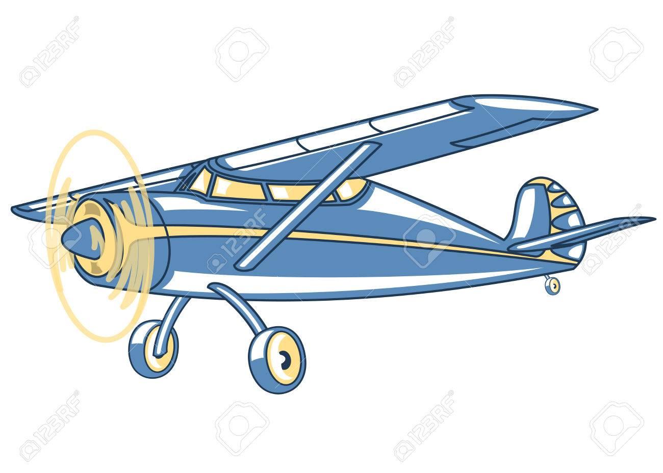 漫画のレトロな飛行機イラスト クリップ アートのイラスト素材ベクタ