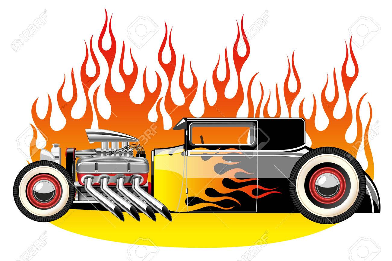 A vector illustration of a vintage hot rod. Gradient mash Stock Vector - 27485248