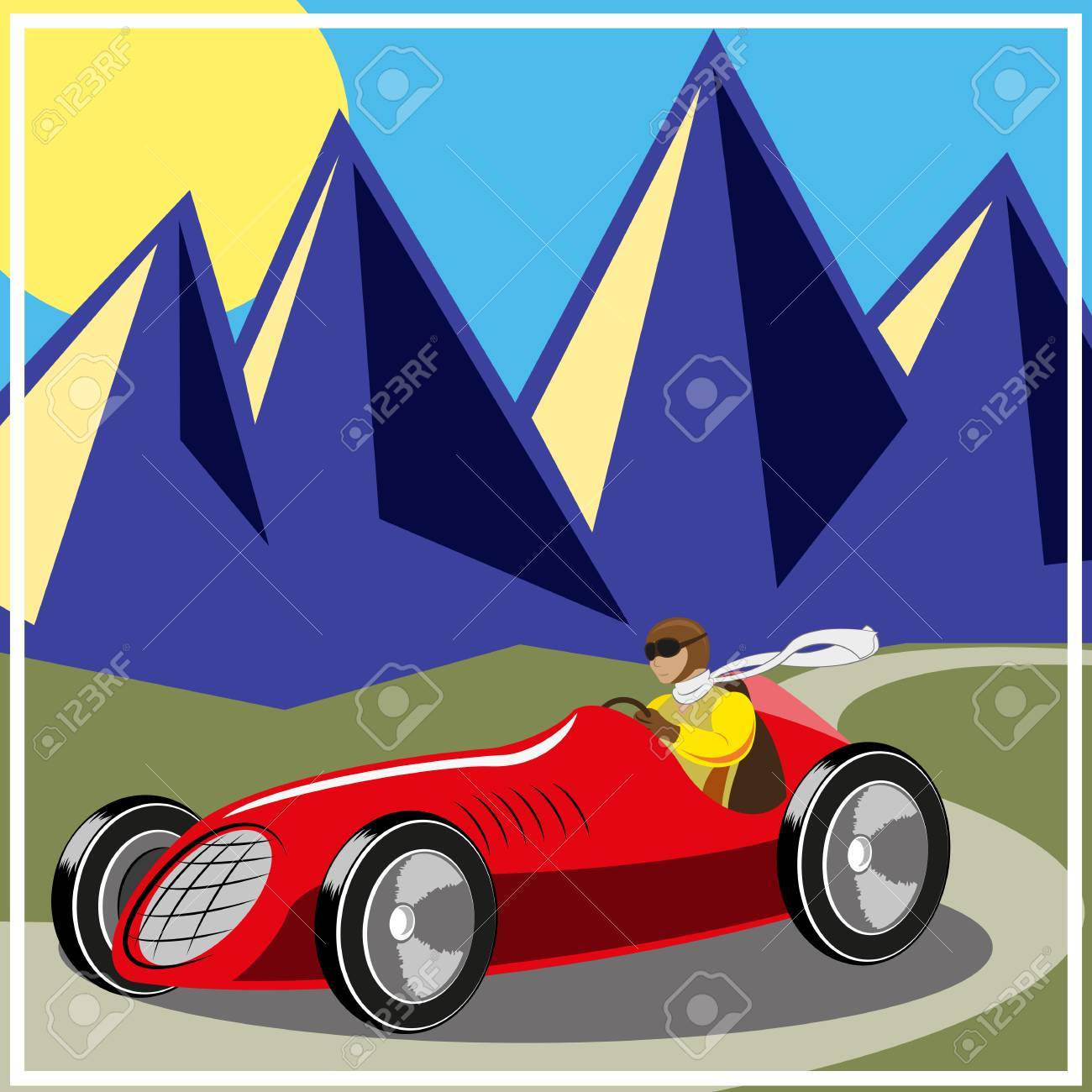 Racer driving old fast race car, vector illustration Stock Vector - 27712863