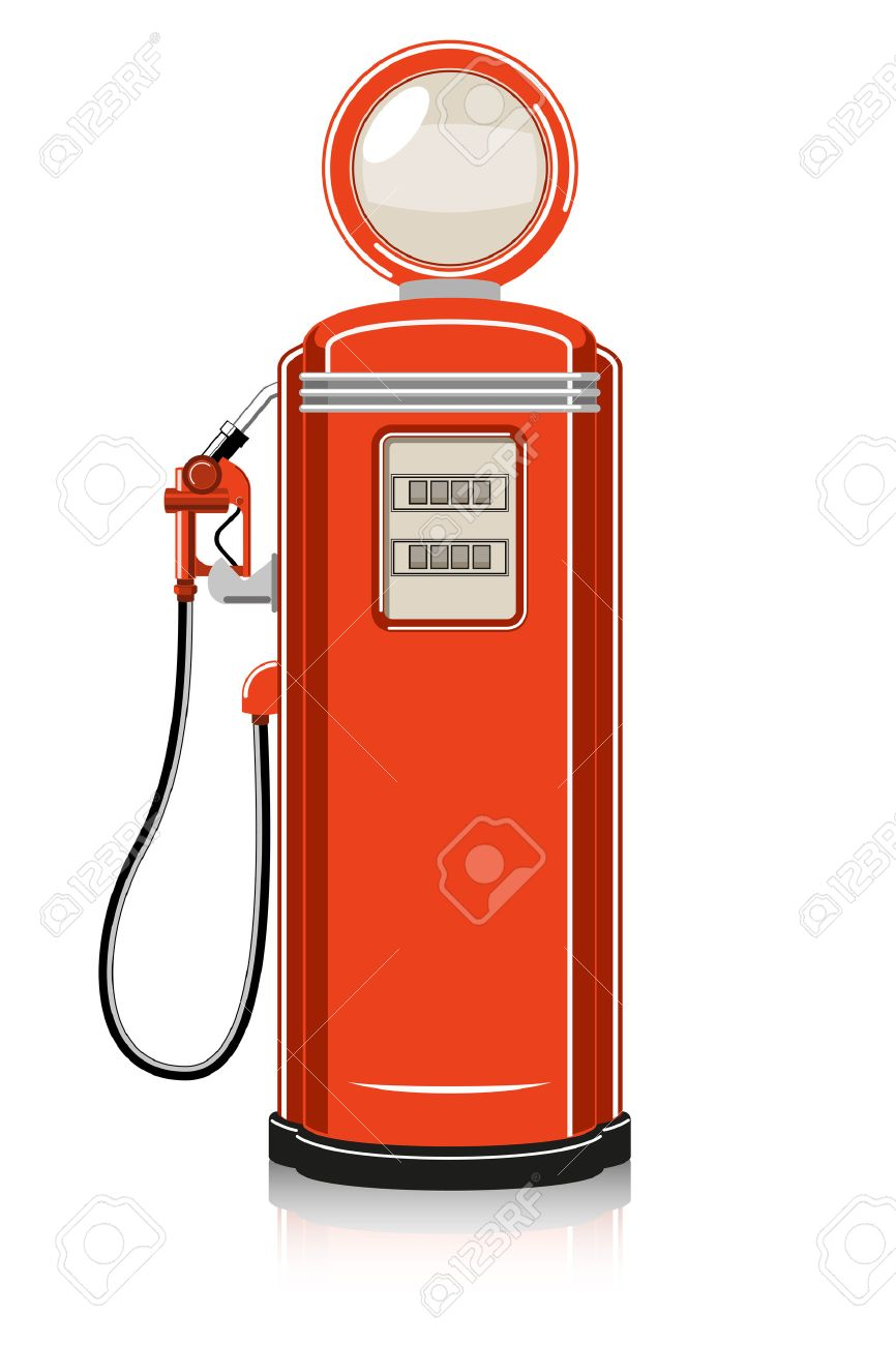 Retro Gas Pump on white background. Stock Vector - 28080213