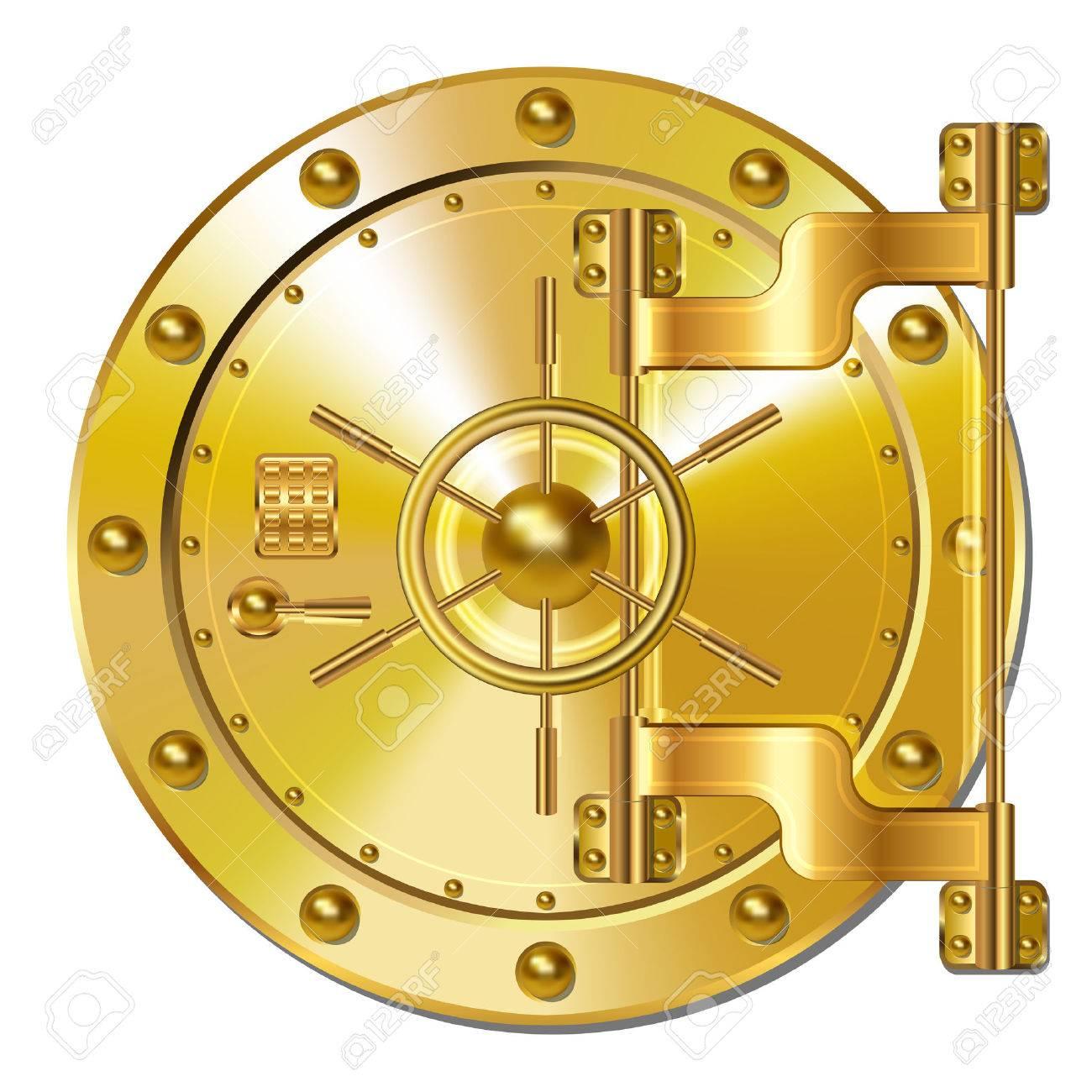 Gold Bank doors Stock Vector - 37165926