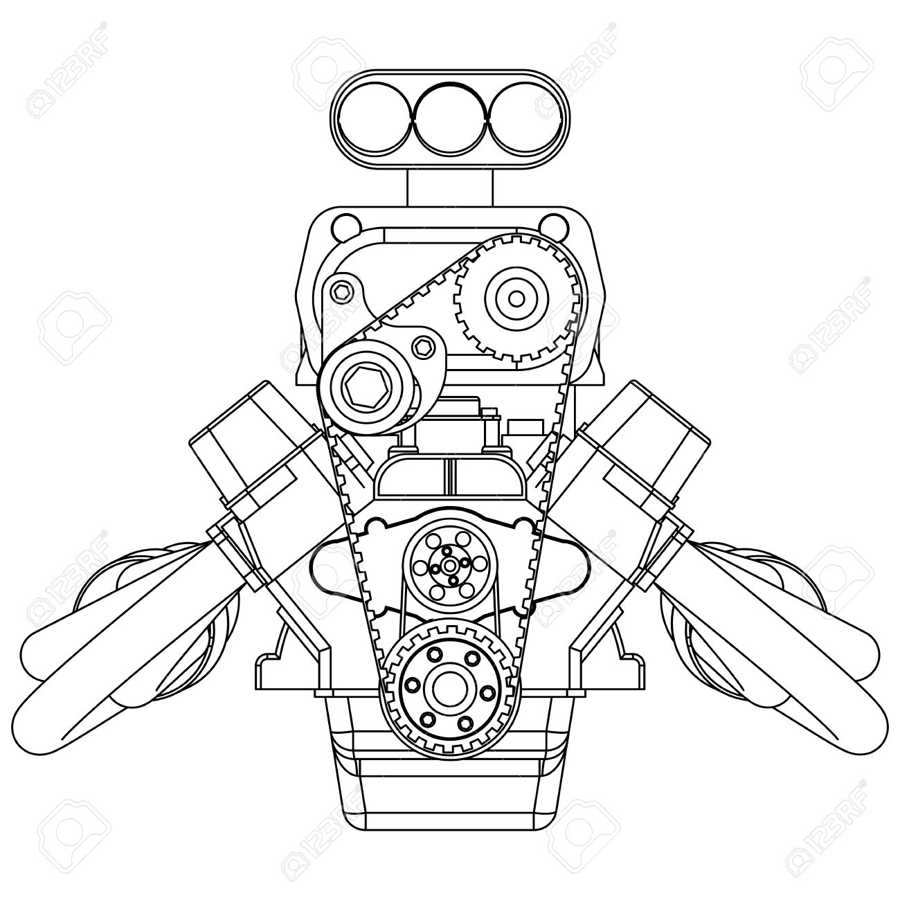 Schematic drawing of Hot Rod Engine. Vector illustration Stock Vector - 52023386