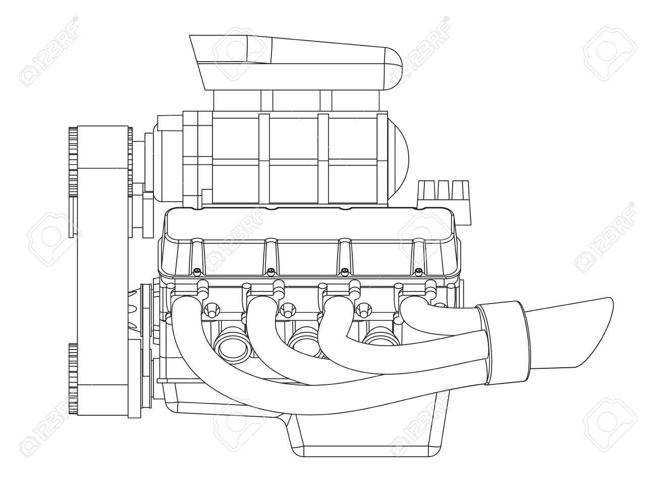 Banque d'images - Schéma de Hot Rod Engine. Vector illustration