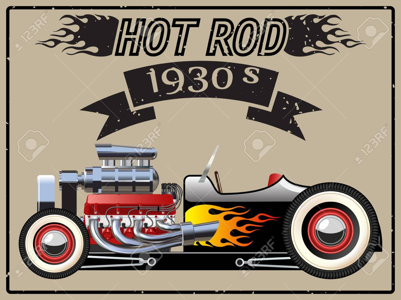 A vector illustration of a vintage hot rod. Stock Vector - 52025127