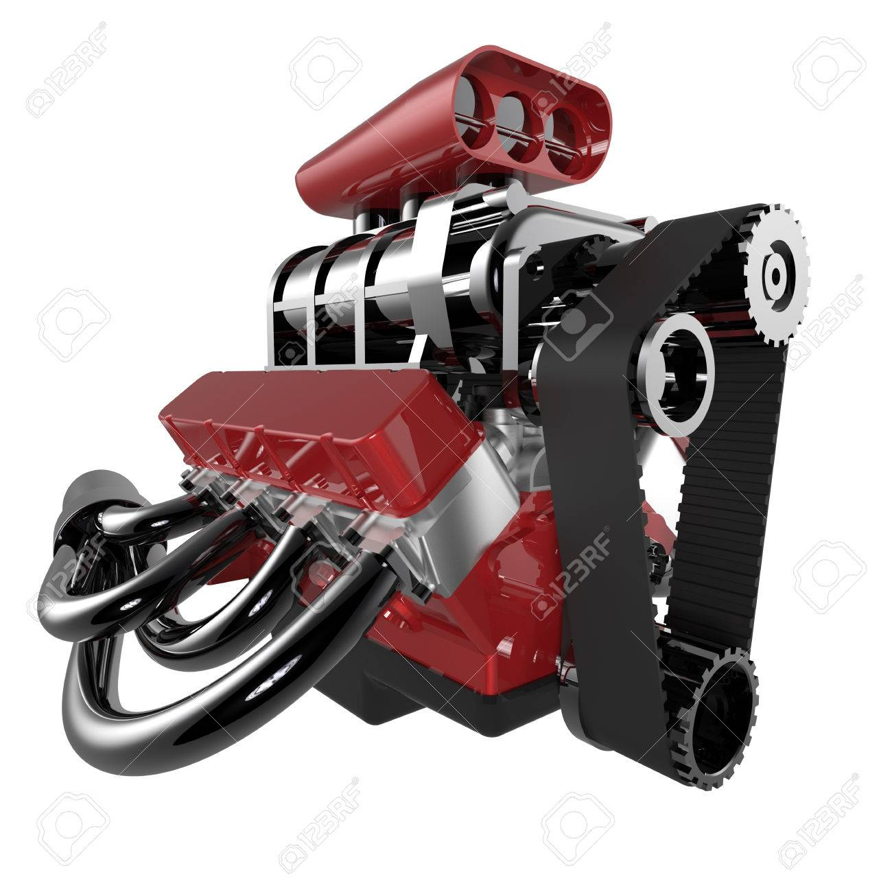 Hot Rod V8 Engine Isolated On White. 3D Render Stock Photo, Picture ...